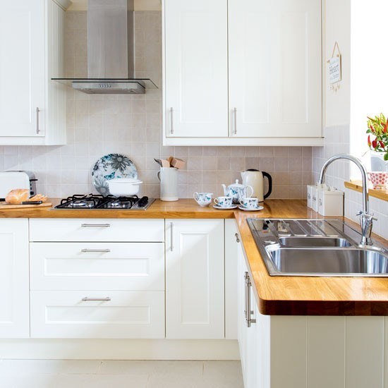 Kitchen Ideas Wooden Worktops: White Modern Shaker-style Kitchen With Wooden Worktops