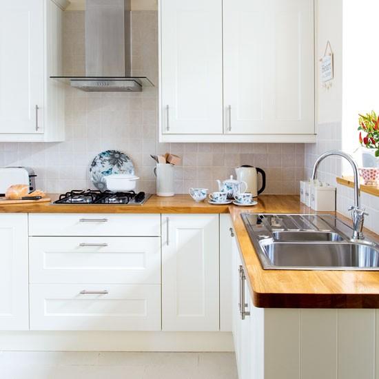 White Modern Shaker Style Kitchen With Wooden Worktops