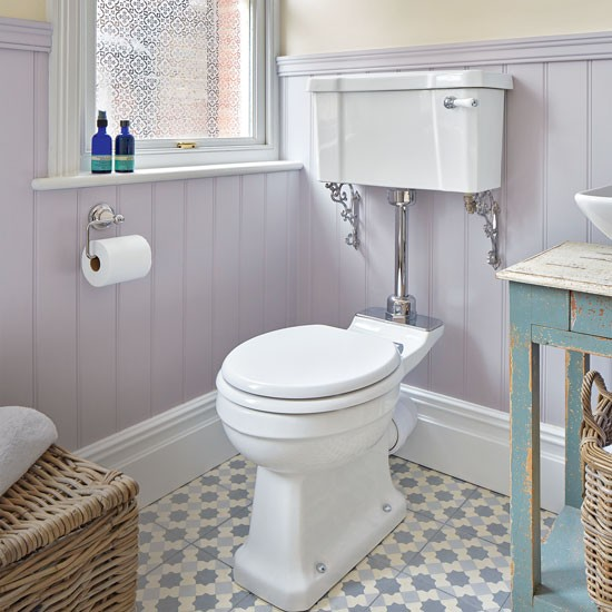 Period style bathroom with lilac painted panelling and for Paint vinyl floor bathroom