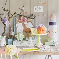 Home office with origami and craft display
