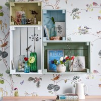Woodland-themed home office with wooden storage crates