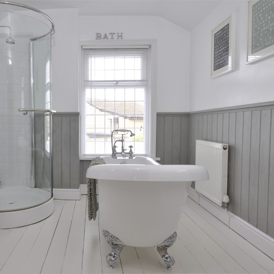 Tongue and groove half panelled wall grey bathroom ideas for Bathroom photoshoots
