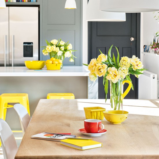 Smart Tones-of-grey Kitchen With Bright Yellow Accents