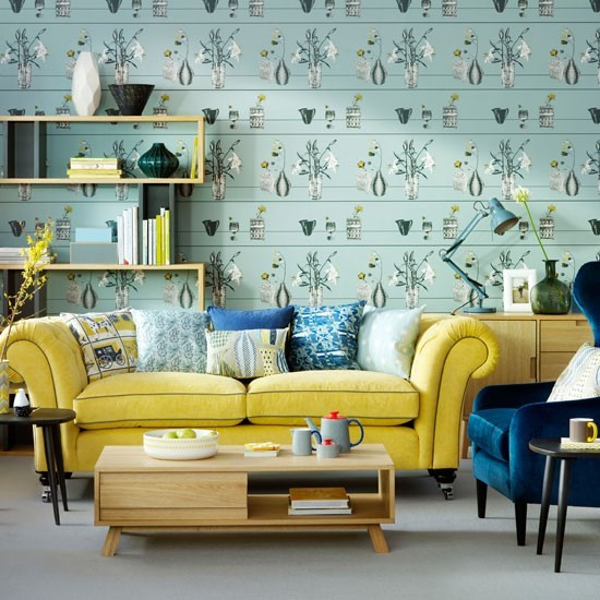 Duck Egg Living Room With Feature Wallpaper