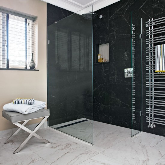 Modern Bathroom With Marble Effect Tiles And Shower Enclosure