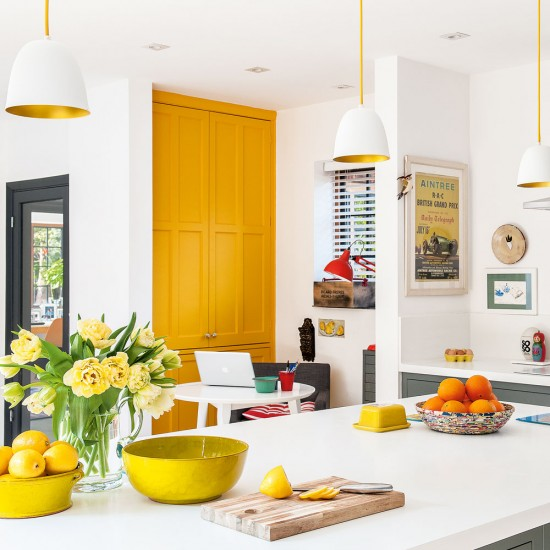 House Rules Yellow Kitchen: Modern Kitchen-diner With Yellow Accents And White Walls