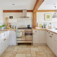 Country barn kitchen with stone flooring