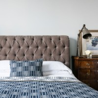 Traditional bedroom with smart cushioned headboard