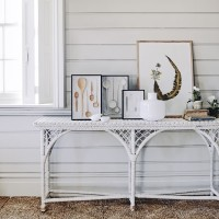 White country hall with seagrass flooring and console table