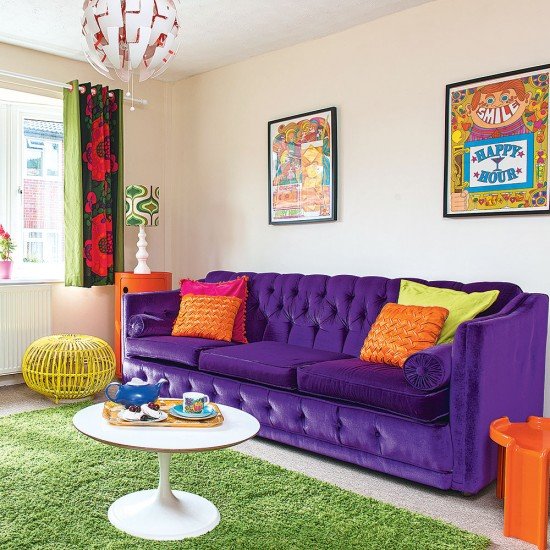 Colourful Modern Living Room With Purple Sofa And Green
