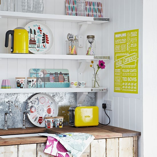Shabby Chic Kitchen Shelves: Shabby Chic Kitchen With Rustic Sink Area And Open