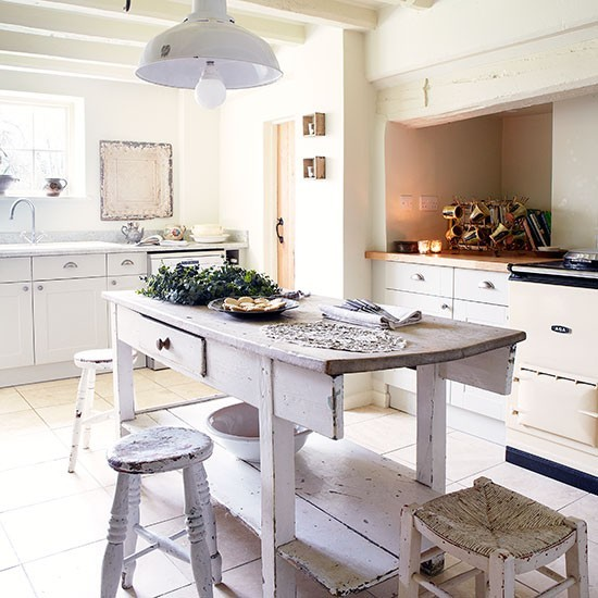 shabby chic kitchen with large preloved butcher s block