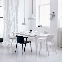 Minimal dining room with pendant lighting and monochrome accessories