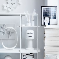Modern storage unit with quirky collectables and curios