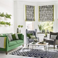 Modern monochrome and fern green living room