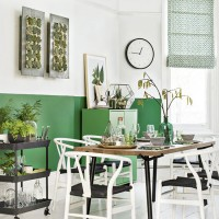 Modern palm green and monochrome dining room
