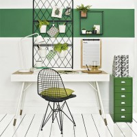 Modern fresh green and white home office