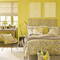 Country bedroom with primrose yellow accents and delicate florals