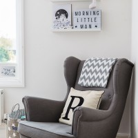 Child's room corner in chic charcoal grey