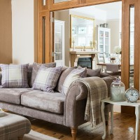 Neutral living room with country-style accents