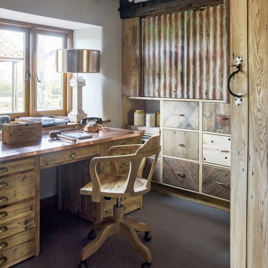 Man cave with cabin style storage and classic desk space for Man cave desk