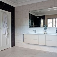 Off-white modern bathroom with double vanity unit
