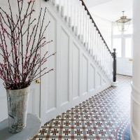 Traditional hallway with Edwardian decorative tiles