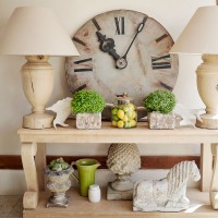 Country hallway with console table and oversized clock