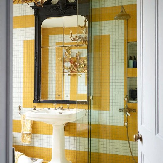 Yellow Mosaic Tiled Feature Wall