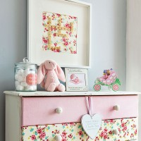Child's shabby chic room with decoupaged chest of drawers