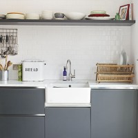 Modern grey and white kitchen with open crockery shelf