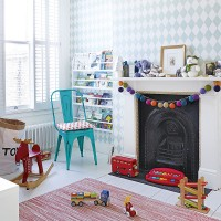 Modern children's room with diamond motif wallpaper