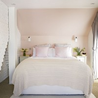 Modern bedroom with blush pink walls