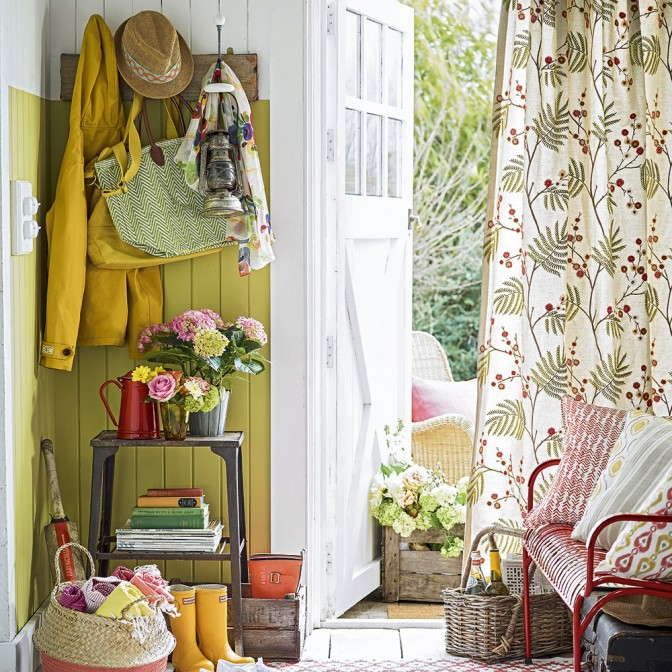 Bright country hallway with leaf curtains