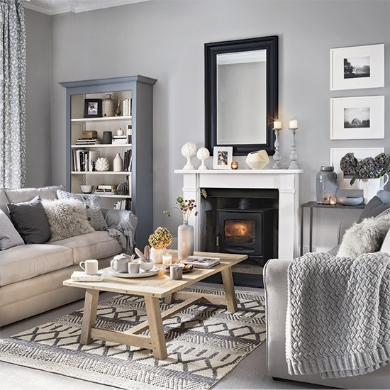 Grey living room with plenty of pattern and texture grey living room ideas - Gorgeous pictures of black white and grey living room decoration ideas ...