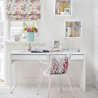 Fresh white home office with floral fabrics