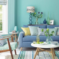 Spearmint living room with denim sofa and lime accents
