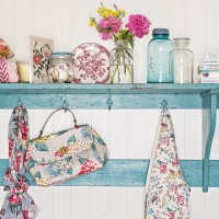 Country kitchen with shabby chic and floral accessories