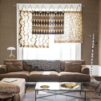 Laid-back modern living room with tribal-print window treatment