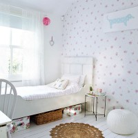 Bright white children's room with pretty florals