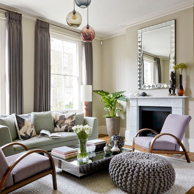 Muted pastel living room with textural accents