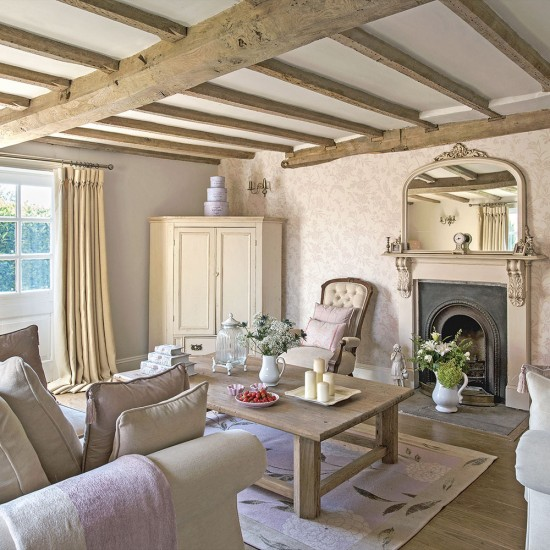 Regency country cottage living room with exposed beams - Country cottage style living room ideas ...