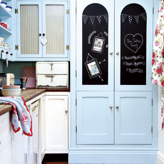 Pale blue retro kitchen