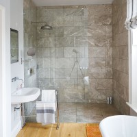 Modern bathroom with spacious walk in shower