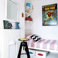 Fresh white childrens bedroom with colourful details