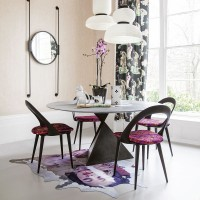 Modern dining room with oriental-inspired furnishings