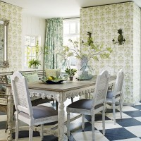 Fabulous pattern-mix dining room with shades of green