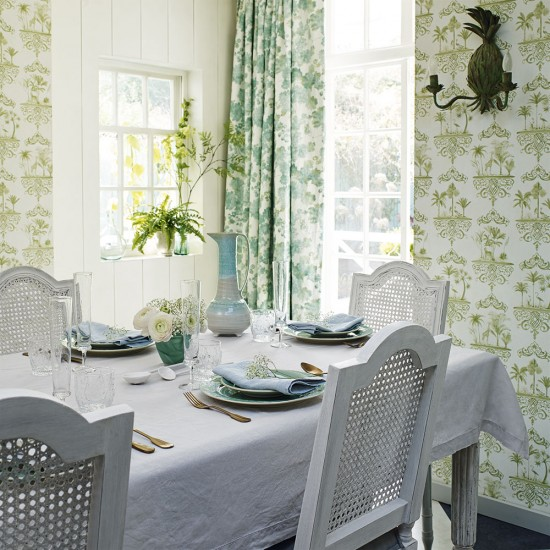 Country Style Dining Room With Botanical Inspired