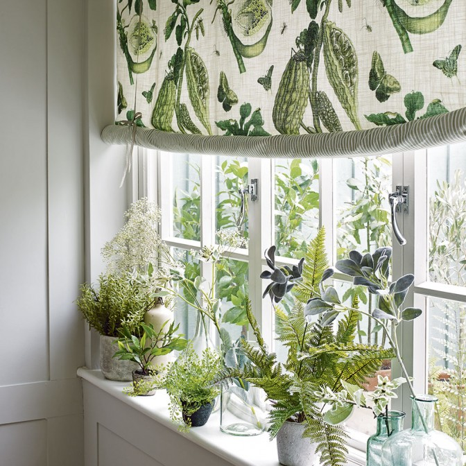 Botanical garden room with potted herbs and foliage