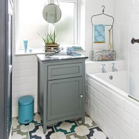 Modern grey and white bathroom with patterned floor